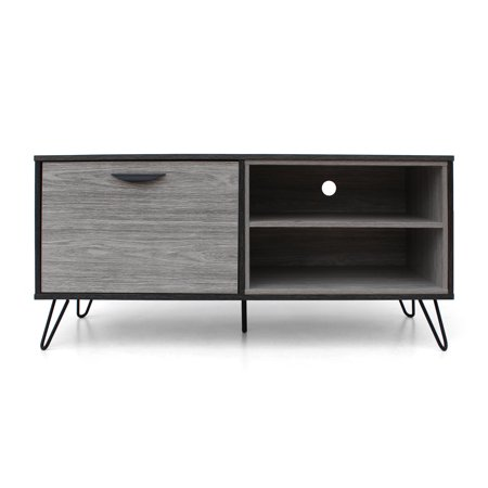 2 Tone Wood (Vivian Mid Century Modern Two Toned Faux Wood TV Stand, Grey Oak)