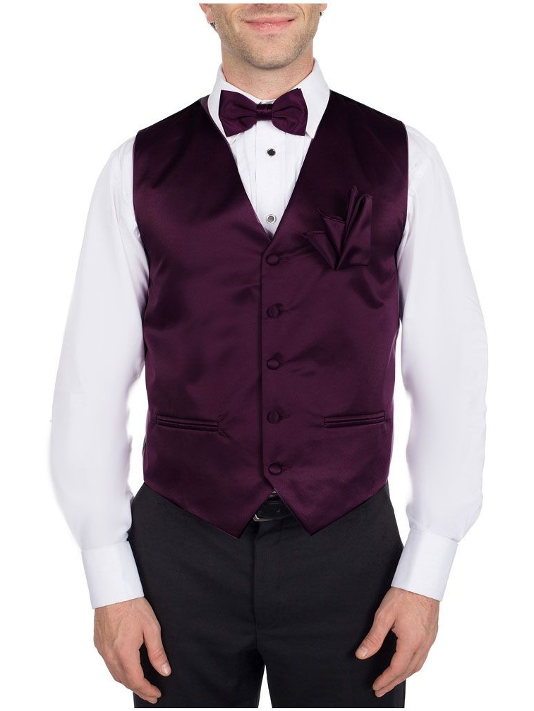 Men's Solid Dress Vest Bow Tie Eggplant for Tuxedo and Suit