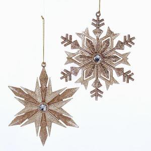 2 Assorted Glitter Rose Gold Snowflake Christmas Ornaments