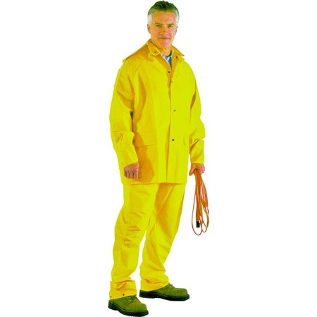 SRS3/111-L 3-Piece Heavy Duty Rainsuits, Large, Polyester, PVC, Yellow Heavy Duty Raincoats