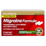 GoodSense Migraine Formula Caplets, Acetaminophen, Asprin (NSAID) and Caffeine Tablets, 24-count