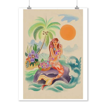 Hawaiian Mermaid - Lantern Press Artwork (9x12 Art Print, Wall Decor Travel Poster)](Hawaiian Deco)
