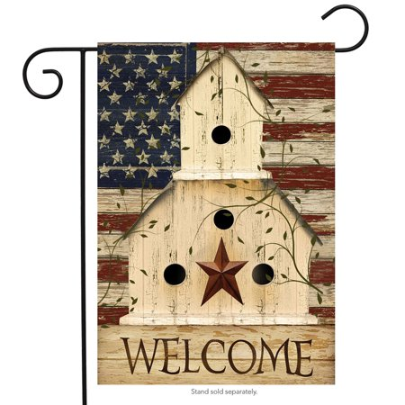 Americana Welcome Garden Flag Primitive Patriotic 12.5