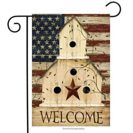 Americana Welcome Garden Flag Primitive Patriotic 12.5