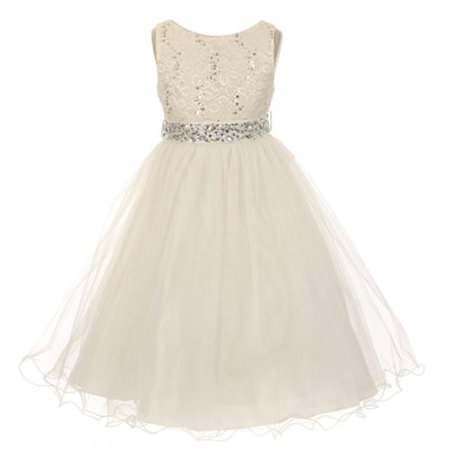 Little Girls Ivory Lace Crystal Tulle Rhinestone Flower Girl Dress 6 - Flower Girl Dress Ivory
