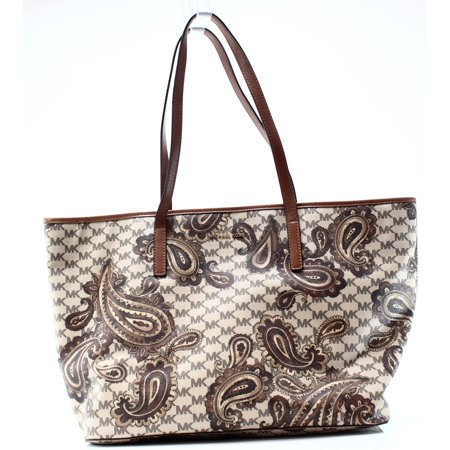 bc9b8ad3c86afb Michael Kors NEW Brown Coated Canvas Paisley Emry Zip Tote Bag Purse ...