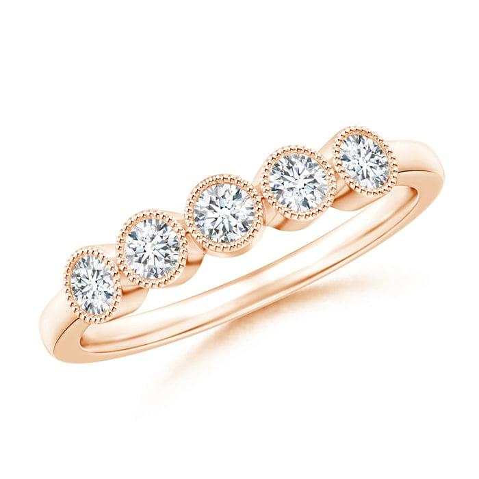 Angara Milgrain-Edged Bezel Set Diamond Five Stone Ring UZMbx