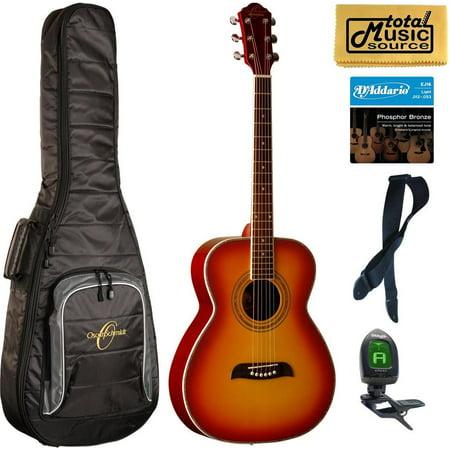 Oscar Schmidt OF2 Folk-Size Acoustic Guitar - Cherry Sunburst Bag Bundle, OF20CS BAGPACK