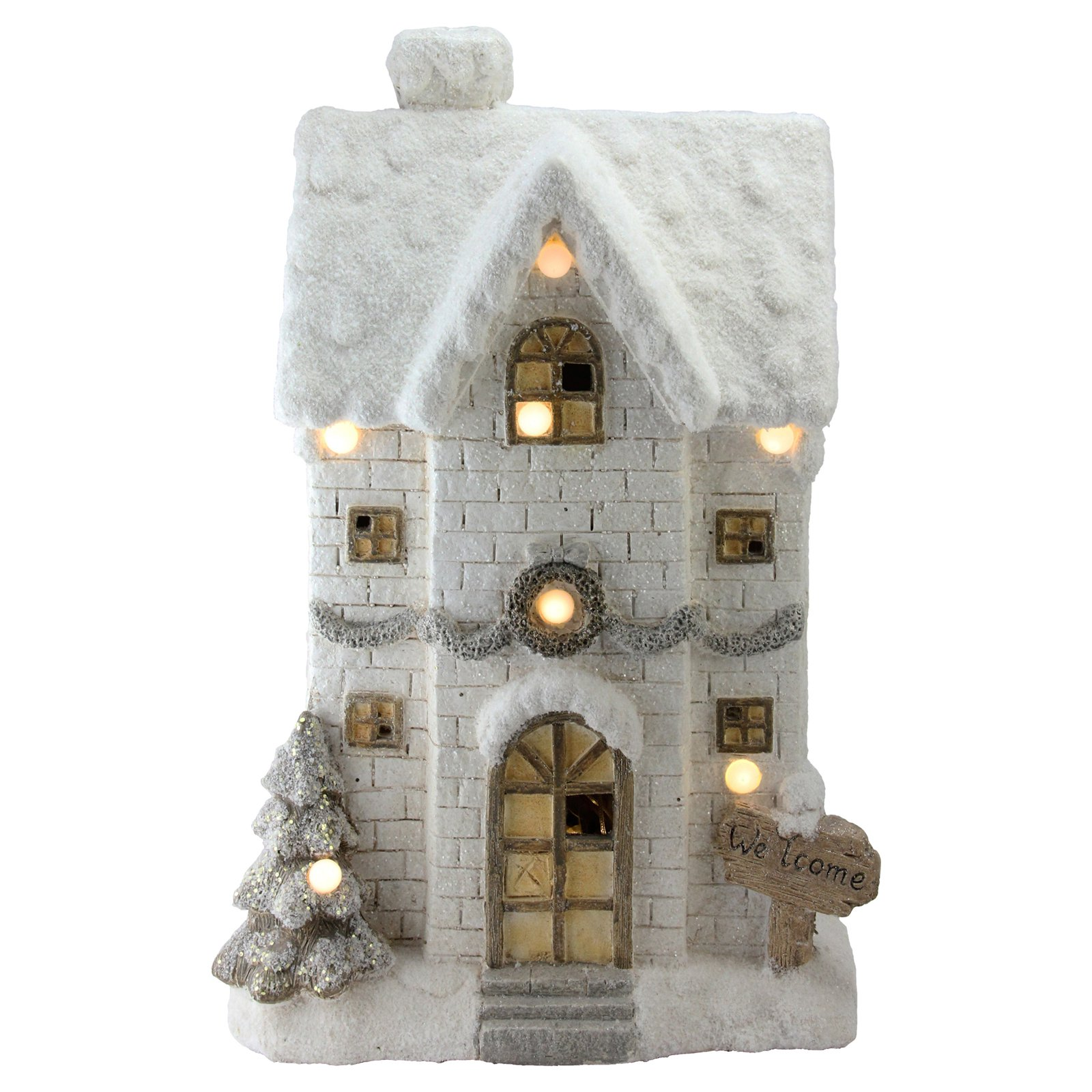 Northlight 22.5 in. Musical Snowy Brick House Pre Lit Decorative Accent