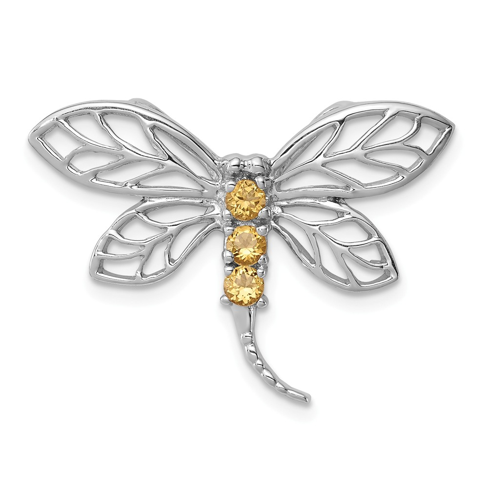 Sterling Silver Rhodium Citrine Dragonfly Pendant. Gem Wt- 0.17ct