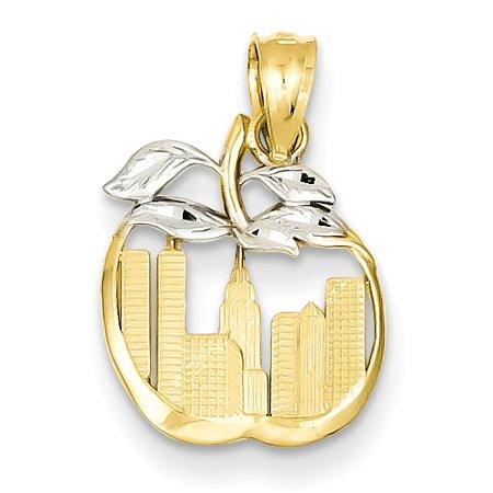 14k & Rhodium Cut-out New York Skyline in Apple Pendant