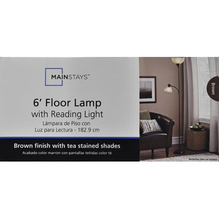 Mainstays combo floor lamp brown best floor lamps for Mainstays floor lamp with reading light brown