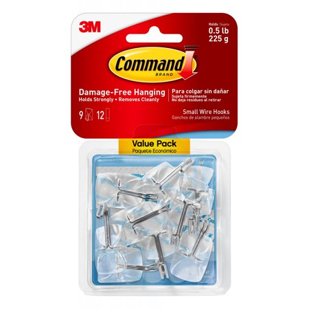 Command Clear Small Wire Hooks, 9 Hooks, 12 Strips (Holds 0.5 (Nine Hooks)