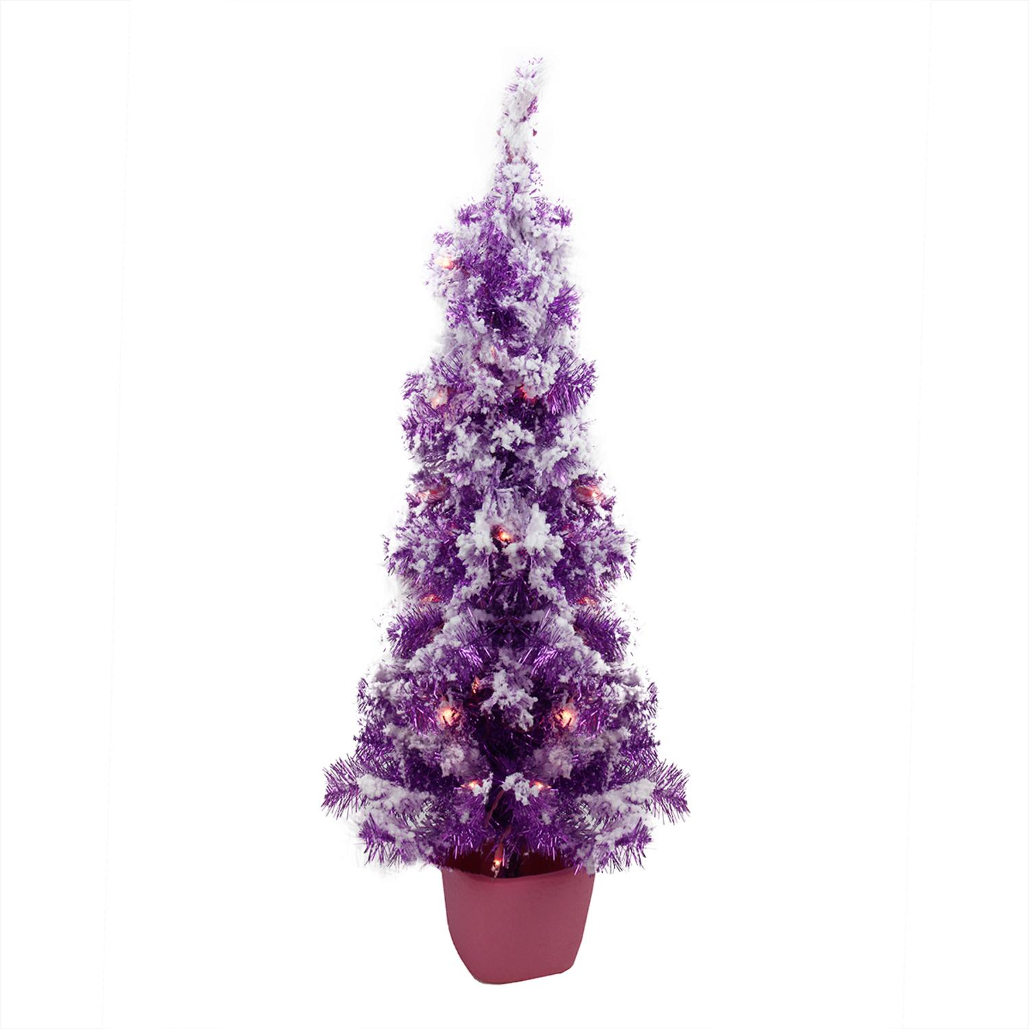 3.5' x 18'' Pre-Lit Potted Flocked Purple Pencil Tinsel Artificial Christmas Tree - Clear Lights