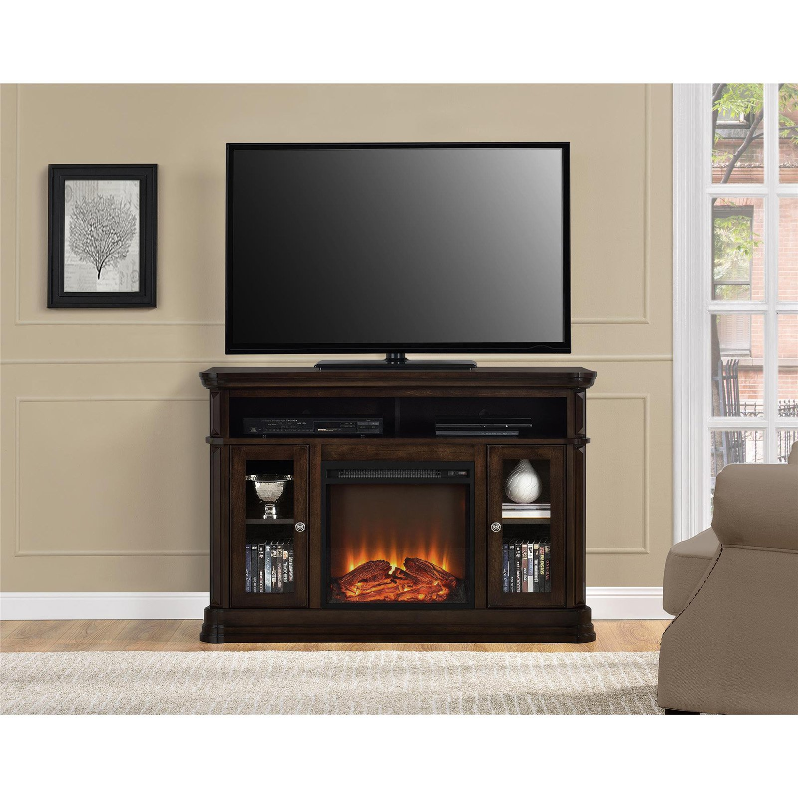 """Ameriwood Home Brooklyn Electric Fireplace TV Console for TVs up to 50"""" Espresso"""