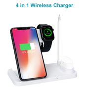 3 In 1 Wireless Charger, Wireless Charging Station Compatible With Apple Watch Series 4/3/2/1 & AirPods & Apple Pencil, 10W Qi Fast Wireless Charger Stand Compatible With IPhone Samsung White