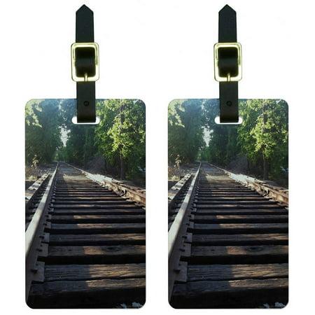 Luggage Train (Train Railroad Ties Tracks Luggage Tags Suitcase Carry-On ID, Set of 2)