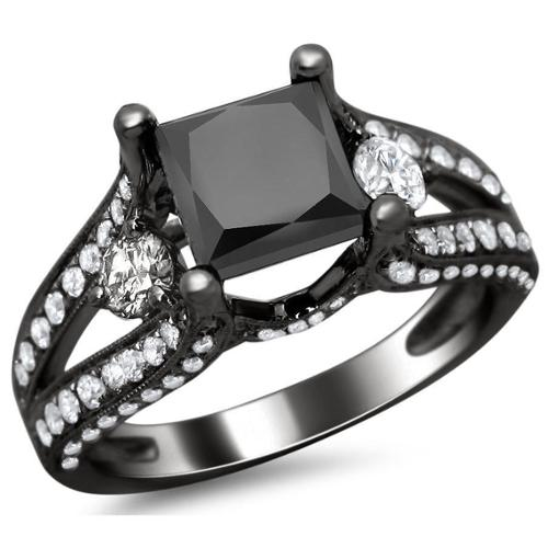 Noori Collection Noori 18k Black Gold 3.0 ct TDW Certified Black Princess and Round-cut Diamond Engagement Ring