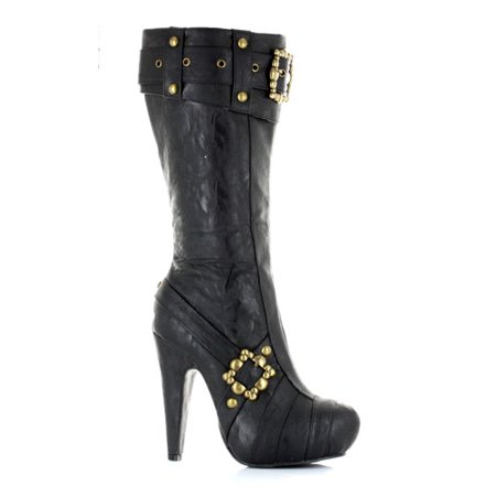 Knee High Steampunk Boots - Black Womens Footwear