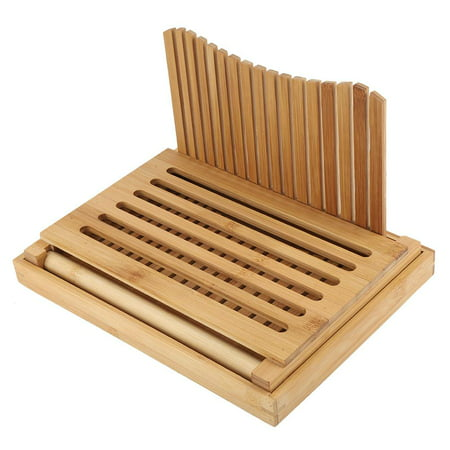 Qiilu Foldable Bamboo Bread Slicer Guide with Crumb Catching Tray, Bamboo Bread Slicer Guide,Bread Slicer Guide - image 6 of 13