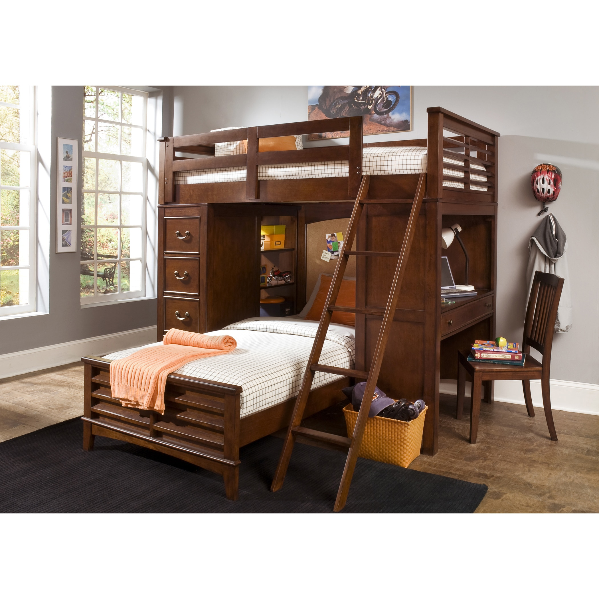 Liberty Furniture Industries Liberty Chelsea Square Twin-Over-Twin Loft Bunk Bed with Cork Board Headboard