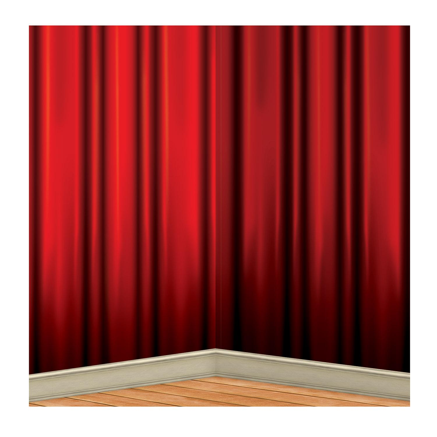 Set of 6 Red Hollywood Awards Night Curtain Backdrops 4' x 30'