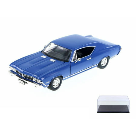 1968 Chevelle Ss 396 - Diecast Car & Display Case Package - 1968 Chevy Chevelle SS 396, Blue - Welly 29397WBU - 1/24 Scale Diecast Model Toy Car w/Display Case