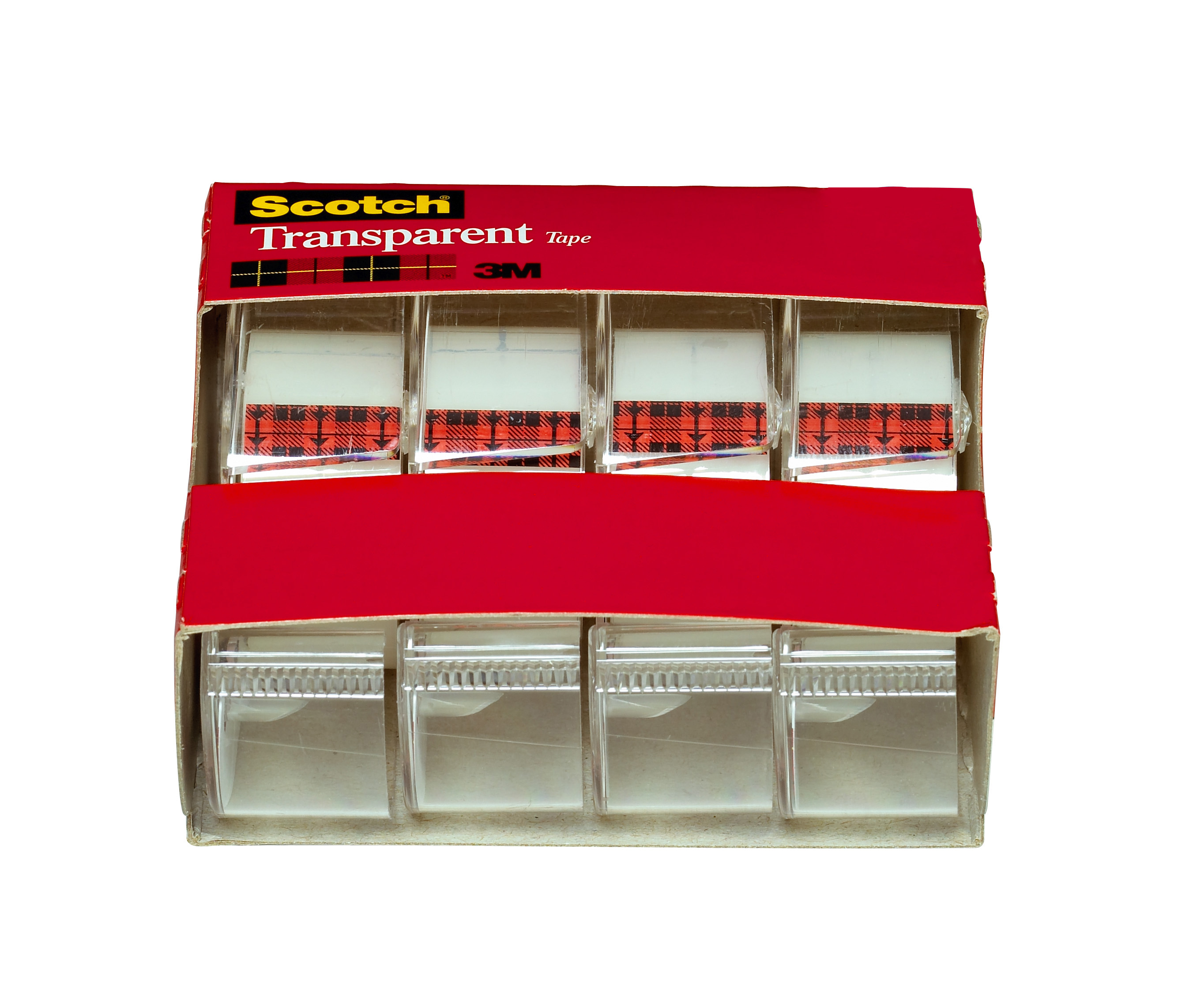 """Scotch Transparent Tape on Handheld Dispensers, 3/4"""" x 850"""", Clear, 4/Pack"""