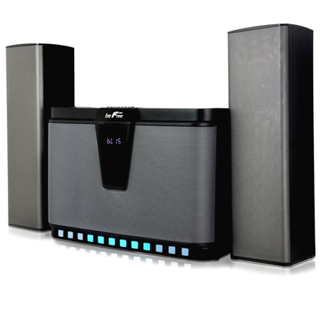 beFree Sound Home Stereo 2.1 Bluetooth Channel Multimedia Wired Speaker System With Sound Reactive LED lights, Remote Control and Digital Display - Sound Reactive Glasses