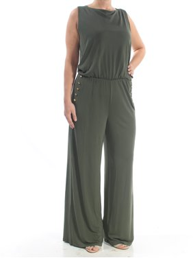 RALPH LAUREN Womens Green Pleated  5 Button Sleeveless Boat Neck Wide Leg Cocktail Jumpsuit  Size: L