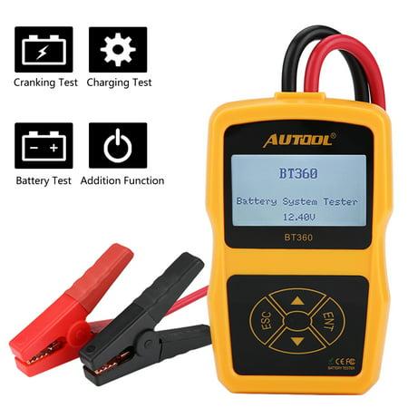 Tebru 12V BT-360 Automotive Load Battery System Tester Digital Analyzer Cell Test Tool Multi-language, Battery Load Tester, Car Battery Tester Car Battery Load Tester