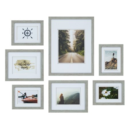 Set of 7 Piece Grey Photo Frames with Double White Mat Wall Gallery Kit. Includes: Hanging Template, Art Prints and Hanging (Federal Art Gallery)