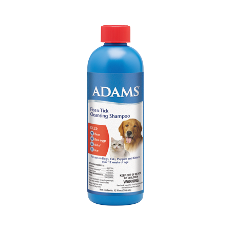 Adams Flea and Tick Control Cleansing Shampoo for Cats and Dogs 12 ounces 12