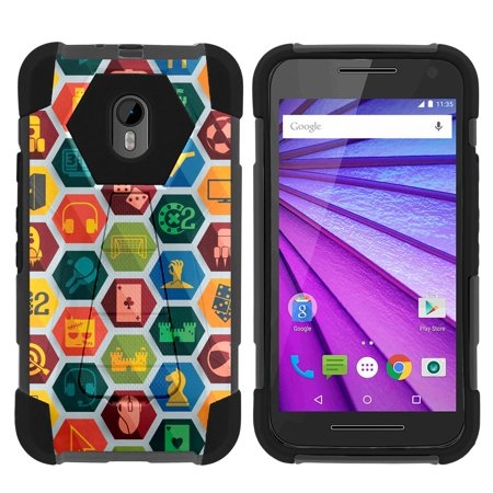 TurtleArmor ® | For Motorola Moto G 3rd Generation XT1548, XT1540 [Dynamic Shell] Dual Layer Hybrid Silicone Hard Shell Kickstand Case - Game (Best Games For Moto G)