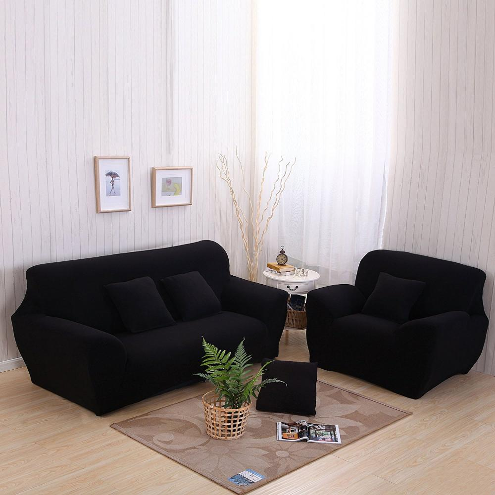 2 Seater Polyester Loveseat Sofa Couch Stretch Protect Cover Elastic Slipcover Home (Black),Sofa Cover