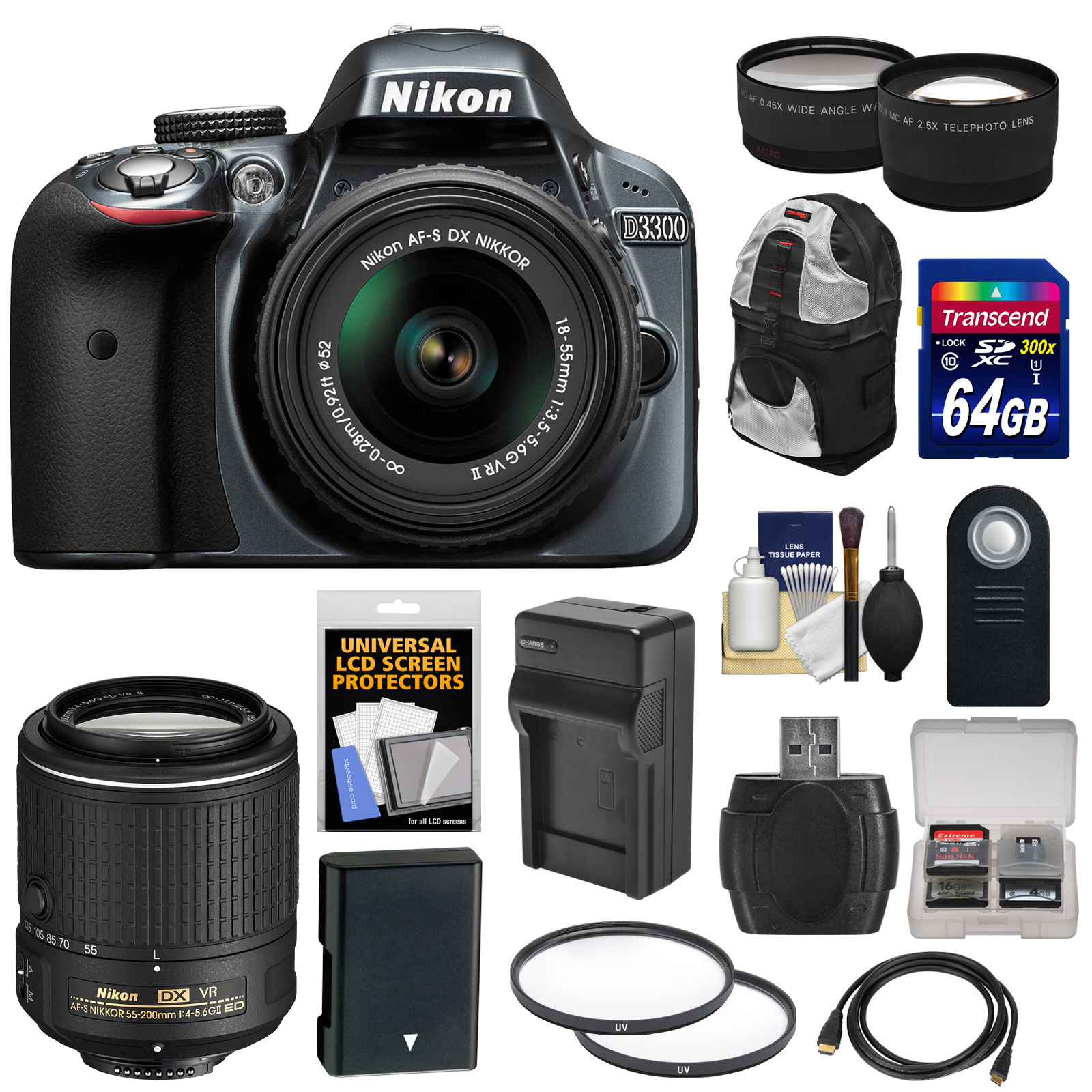 Nikon D3300 Digital SLR Camera & 18-55mm G VR DX II (Grey) with 55-200mm VR II Lens + 64GB Card + Backpack + Battery & Charger + Tele/Wide Lens Kit