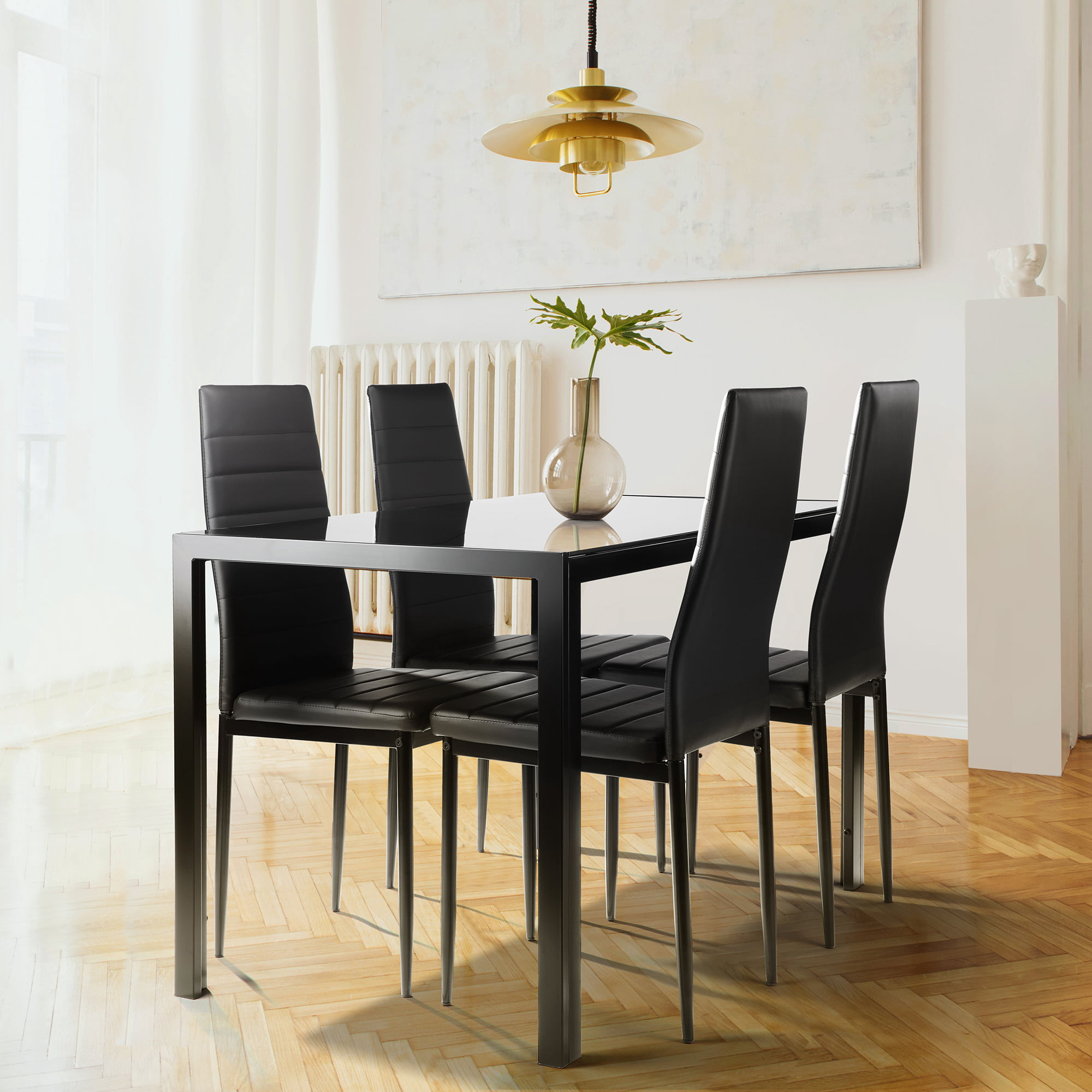 5 Piece Dining Room Table And Chairs, Kitchen Dining Set, Dining Table Set With 4 Chairs, Heavy-Duty Glass Table & Softly Seat, Breakfast Furniture For Dining Room, Living Room, Black, W3112 -