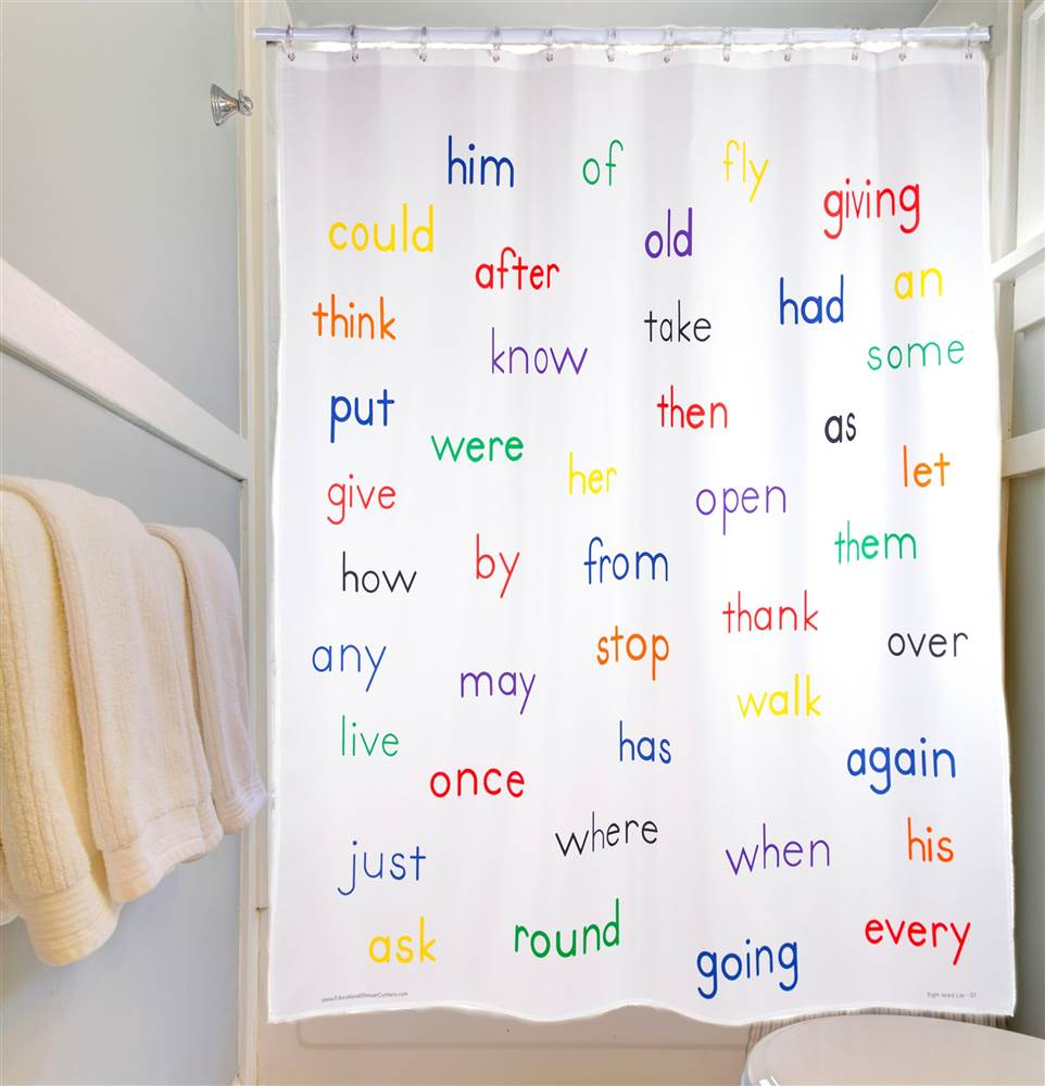 Educational Shower Curtain - Grade 1 Words