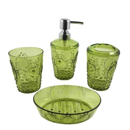 Green Bathroom Accessories Set