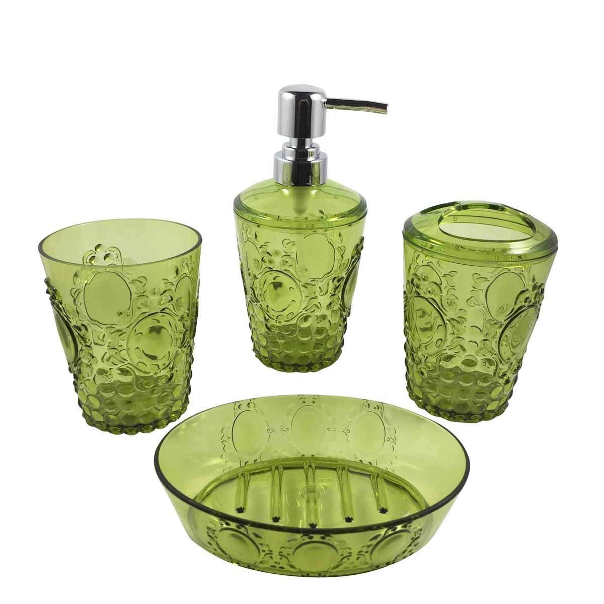 Hampton Acrylic Bathroom Accessories Set of 4 Piece Features Soap Dispenser Pump, Toothbrush Holder, Tumbler, Soap Dish (Green)