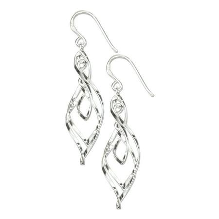 STERLING SILVER TRIPLE TWISTED DESIGNER EARRINGS ON FRENCH (Triple Twist Earrings)