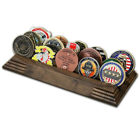 3 Row Challenge Coin Holder - Military Coin Display Stand - Amazing Military Challenge Coin Holder - Holds 14-19 Coins 3 Rows Made in The USA! (Solid Walnut) Row Challenge Coin Rack
