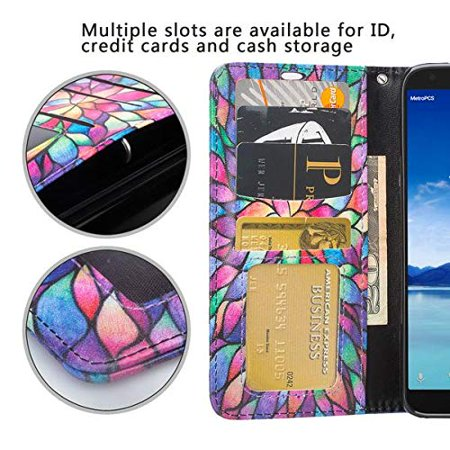 T-Mobile Revvl 2 Plus Case, Alcatel 7 Folio Case, Alcatel 7 Case, PU Leather Flip Fold Wallet Case [Kickstand Feature] with [ID&Credit Card Slot] - Rainbow - image 1 de 4