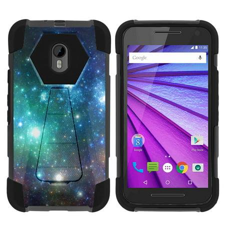 Case for Motorola Moto G 3rd Gen | Moto G3 Hybrid Cover [ Shock Fusion ] High Impact Shock Resistant Shell Case + Kickstand - Blue Space Specs ()