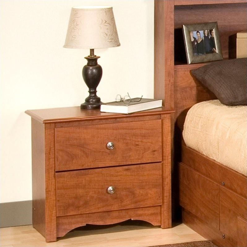 Prepac Monterey Cherry 2 Drawer Nightstand
