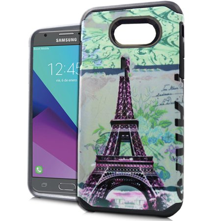 Galaxy J3 Luna Pro Case, Galaxy J3 Prime/J3 Eclipse/J3 Emerge/Amp Prime 2/Express Prime 2/Sol 2/J3 2017/J3 Mission Case, Rubberized Hard Dual Layer Cover Case (Paris (Paris Cast)