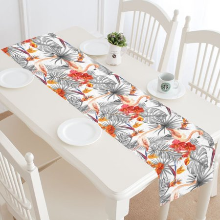 MYPOP Tropical Flamingo Table Runner Home Decor 16x72 Inch, Palm Tree Leaves Table Cloth Runner for Wedding Party Banquet Decoration - Palm Tree Table Decorations