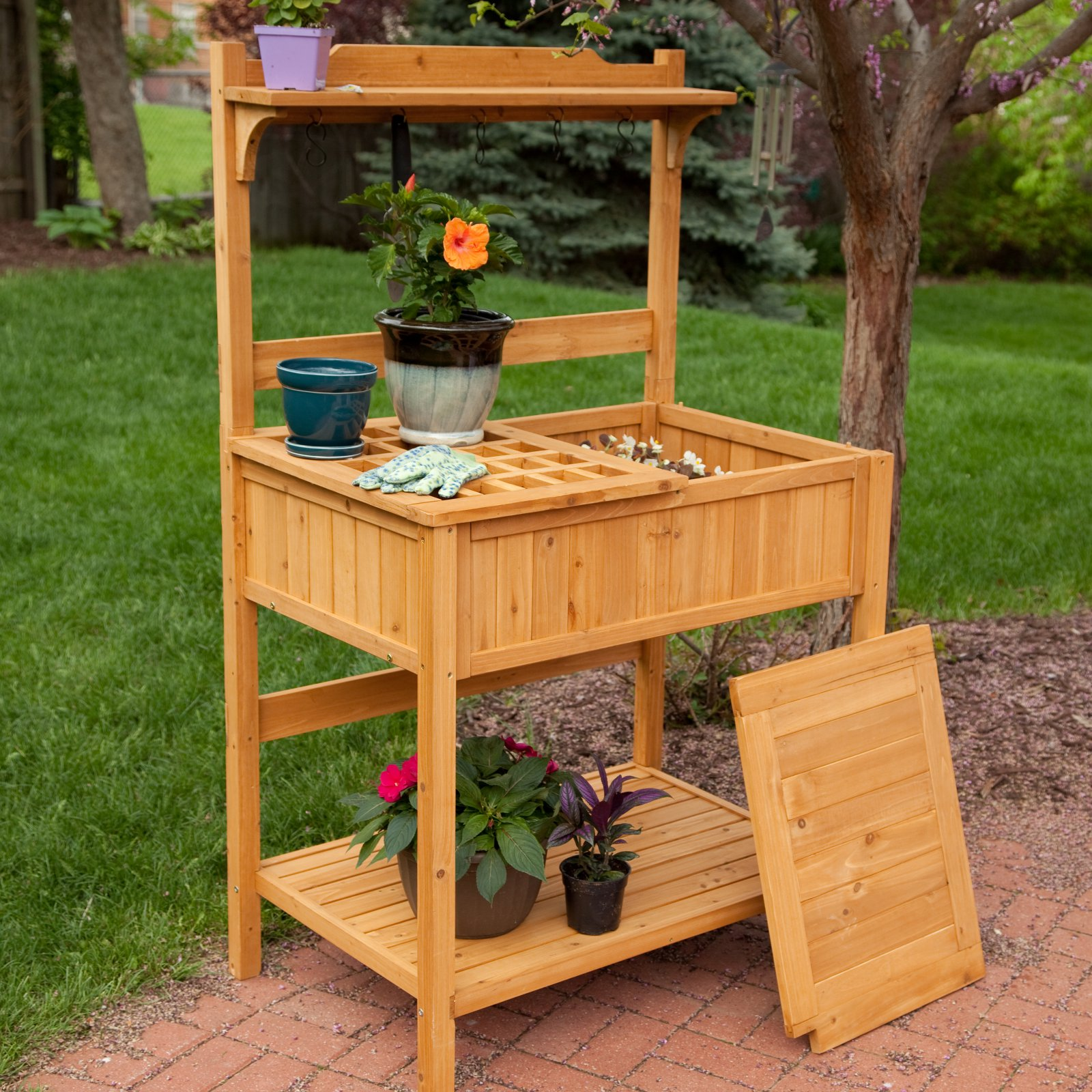 Coral Coast Gardener's Choice Fir Wood Potting Bench