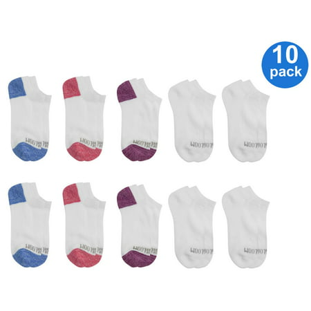 Fruit of the Loom Girl's Everyday Half Cushion No Show Socks, 10 Pack