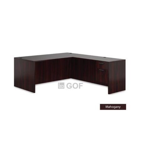 GOF 1 Person Workstation Cubicle (5.5'D x 6'W x 5'H) / Office Partition, Room Divider (L-Shape Desk Only, Mahogany)